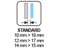 ESPECIFICACIONES - Distancia pared Standard 10>19 - 12>17 - 14>15 mm SV